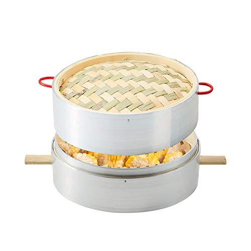 Vaporera de bambú hecha a mano, cestas de 1-4 niveles 20CM (7.87 pulgadas), empanadillas de dim sum, pollo, pescado y carne,1+1