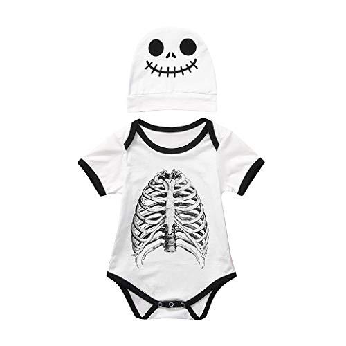 Riou Halloween Baby Kostüm Fasching Karneval Party Cospaly Costume Kinder Junge Mädchen Kostüm Skelett Cartoon Strampler + Hut Bodysuit Babykleidung Outfits Set (100, Weiß)