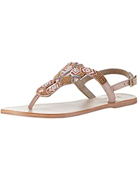 PIECES Damen Carmen Beads Multi Leather Sandal Nude Knöchelriemchen