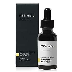 Minimalist 3% Tranexamic Acid Face Serum for Melasma, Pigmentation, Erythema & Acne Scars | Face Serum with HPA to Remove Melasma & Post Inflammatory Hyperpigmentation or Erythema (PIH & PIE) | 30 ml