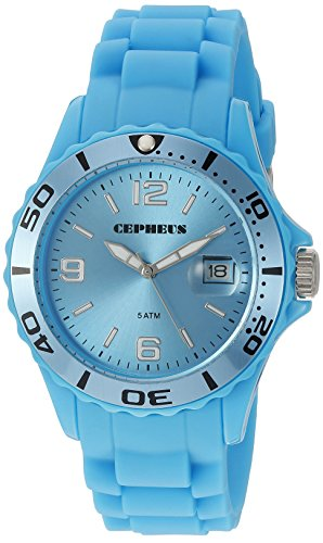 Cepheus Women's Quartz Watch with Turquoise Dial Analogue Display and Turquoise Silicone Strap CP603-090D
