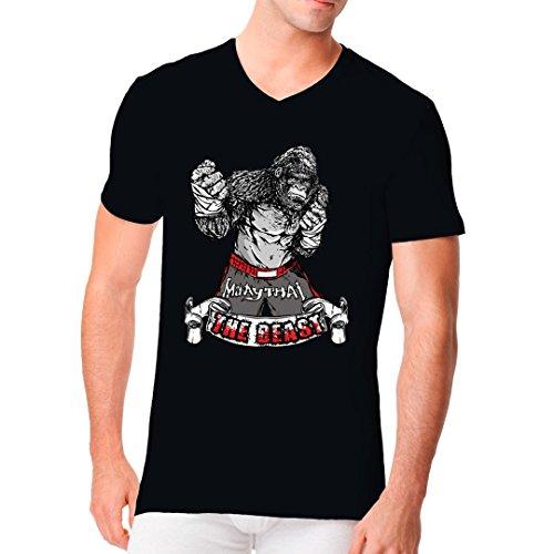 Sport Männer V-Neck Shirt - The Beast - Thai Fighter by Im-Shirt Schwarz