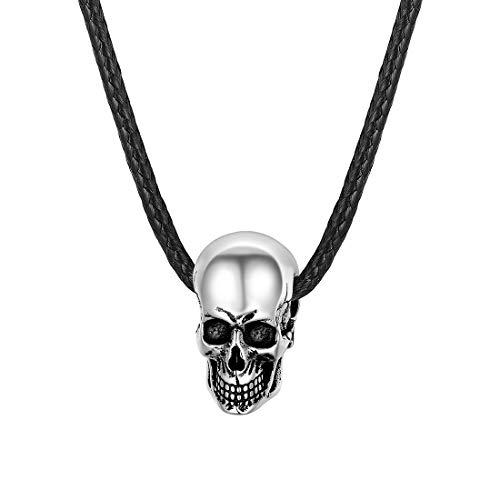 U7 Herren Kette 925 Sterling Silber Schädel Totenkopf Anhänger Gotik Skull Punk Stil Unisex Schmuck Geschenk für Frauen Jungen