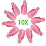 10pcs Kunststoff Nagel Kunst tränken weg Cap Clip UV Gel Polish Remover Wrap Werkzeug