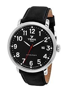 Yema - YEAU 009-AA - Montre Homme - Automatique Analogique - Cadran Noir - Bracelet Cuir Noir