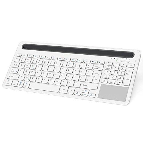 MoKo Bluetooth Keyboard - Multi Touch Drahtlose Wireless Bluetooth 3.0 Tastatur QWERTY-Layout Keyboard mit eingebauter Lithium Batterie für iOS(Mac), Android und Windows Tablet, Weiß/Grau -