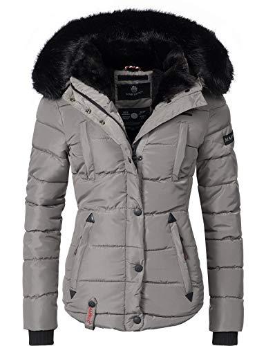 Marikoo Damen Winter Jacke Steppjacke Lotusblüte (vegan hergestellt) Grau Gr. L