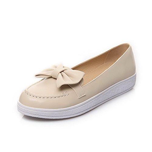 AllhqFashion Femme Pu Cuir à Talon Bas Rond Couleur Unie Tire Chaussures Légeres Abricot