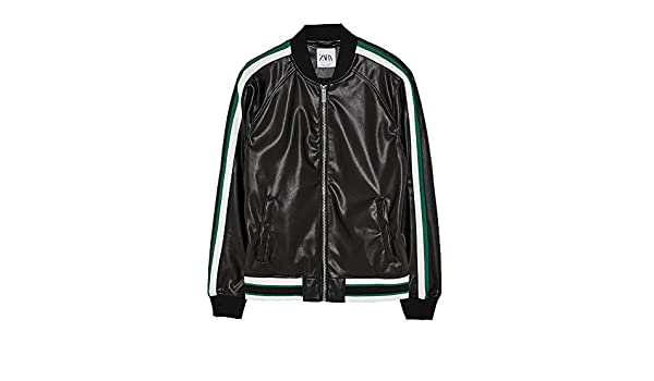 8a6591e6f Zara Men's Faux Leather Bomber Jacket with Taping 8281/459 Black ...