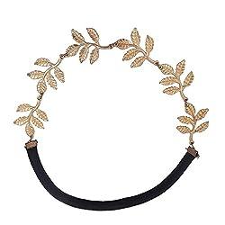 Shining Diva Black Gold Alloy Material Hairband For Women