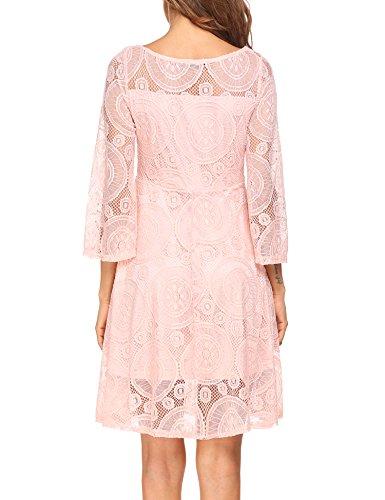 L'AMORE Damen Vintage Kleid Spitzenkleid Abendkleider Langarm Knielang Elegante Swing Partykleid Rosa