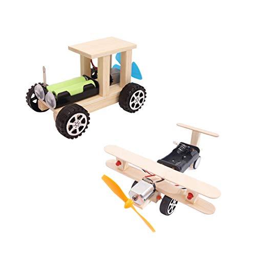 F Fityle 2 Stücke DIY Wind Power Glide Flugzeug \u0026 Auto Modell Kit Holz Kinder Physikalische Wissenschaft Experimente Spielzeug Set Vorschule Pädagogisches (Kits Holz-auto Modell)