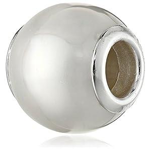 Queenberry Charm/Bead in Perlen-/Muschel-Optik, Sterlingsilber, mit Geburtsstein für Juni, für Pandora/Troll/Chamilia/Biagi/europäische Charm-Armbänder, für Schlangenketten mit 3 mm Durchmesser, Weiß