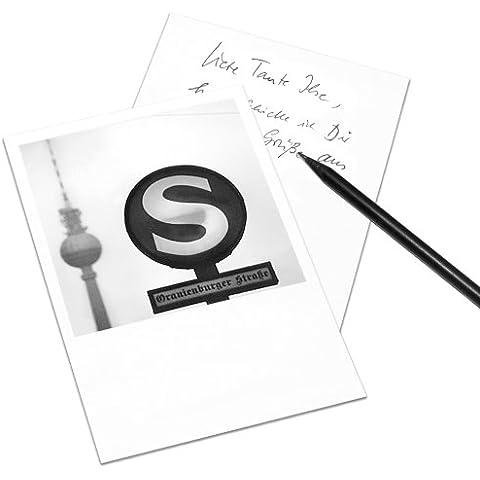 Juego de 5 tarjetas postales Berlín en el estilo de Polaroid - retrato DIN A6 - Arquitectura Alemania - Tema: S-Bahn