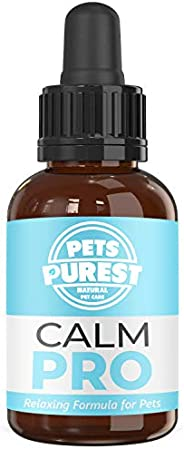 Pets Purest 100% Natural Calm PRO Dog Anxiety Relief Calming Aid Supplement for Dogs Cats Horses Rabbits Birds