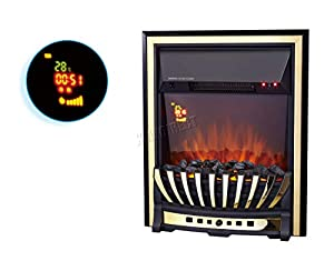 FoxHunter Traditional Electric Fire | Gold Frame Gas Coal Fire Flame Effect Fireplace Heater Remote Control | Indoor Home Heater Fire | Insert Style Fireplace - EFI02 Gold