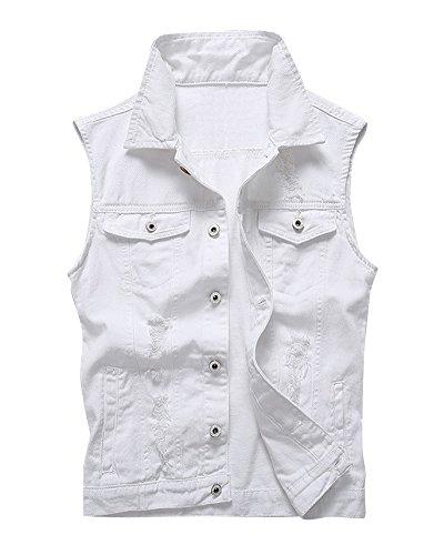 Gilet Denim Uomo Maglia Leisure Toppa Jeans Gilet Giacca Senza Maniche Slim Di Lavoro Bianco M