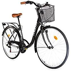 """Moma Bikes Bicicleta Paseo City Classic 28"""", Aluminio, SHIMANO 18V"""