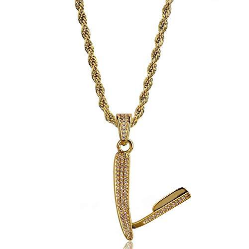 Pendant Halskette Rasier Form Vergoldet Inlaid Zirkon Hip Hop Tide Halskette Sexy Clavicle Vergoldete Halskette,Gold,Perimeter60cm Aida-form