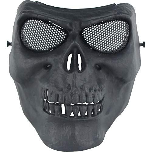 CAOMEI Maske, Drahtmaske,Terror Ausrüstung Feldmaske Untere Gesichtshälfte Maske REIT Masken Outdoor Ausrüstung Outdoor Riding Breathable Für Halloween, Cosplay, Runde Lochart,B