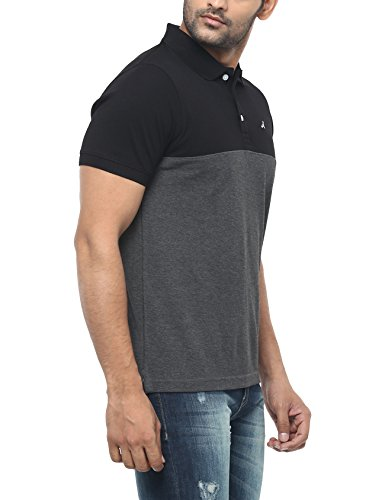 AMERICAN CREW Men's Polo Black & Charcoal Melange Stripes T-Shirt - 4XL (AC166-4XL)