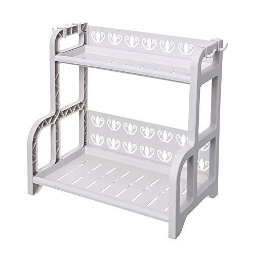 Yingm Gewürzregal Gewürze Trägerschicht 2 for Küchen Speisekammer Shelf Storage Rack Parfüm Finisher Küchenregal Gewürzregal (Farbe : Grau, Size : 41x25X40.5CM)