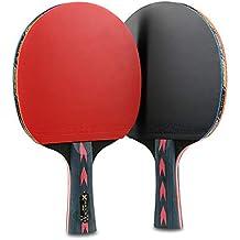 BAIYA Fibra De Carbono Raqueta De Tenis De Mesa Ultraligera 2 Palos Rojos Y Negros Doble