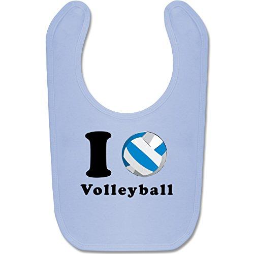 Sport Baby - I Love Volleyball - Unisize - Babyblau - BZ12 - Baby Lätzchen Baumwolle