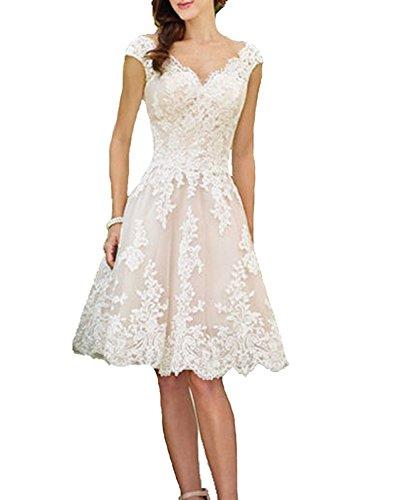 Cloverbridal Hochzeitskleider Für Damen Weiß Standesamt Kurz Tüll Spitze Tiefer Rücken A Linie Champagner Brautkleider Champagner 38