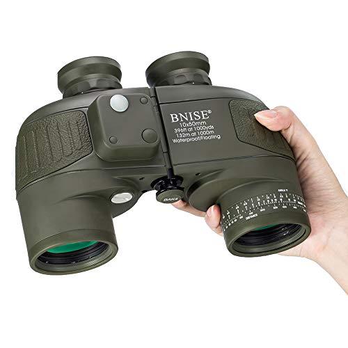 BNISE 10x50 Jumelles Adultes Puissante pour l'Observation des Oiseaux, la Chasse, Boussole Intégrée et Télémètre avec Sangle de Harnais, Télescope de Haute Imperméable Militaire