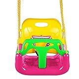 Profun Altalena 3 in 1 da Giardino per Bambini Sedile in Plastica con Schienale Alto e Protezione Anteriore Staccabile con Corda 2M Sicura (Colour2)