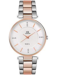IIK COLLECTION Analogue Women's Watch (Silver Dial White & Rose Gold Colored Strap)