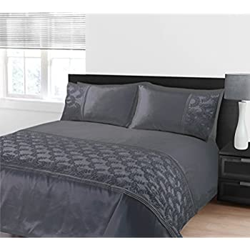 zara grau bestickt pailletten bettw sche set king size doppelbett k che haushalt. Black Bedroom Furniture Sets. Home Design Ideas
