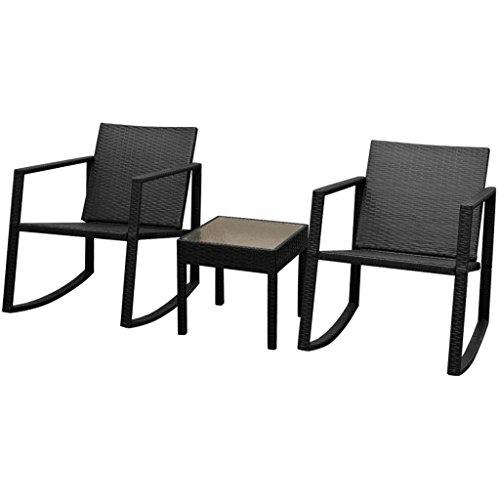 Festnight 3pcs Salon de Jardin 2 Chaise à Bascule et 1 Table en Résine Tressée Noir