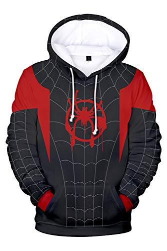 RedJade Herren Damen Kapuzenjacke Pullover mit Kapuze Sweatjacke Hoodie Spider-Man: Into The Spider-Verse Miles Morales (Morales Spiderman Miles Kostüm)