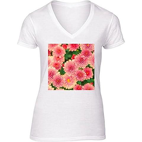 Camiseta V Cuello para Mujer - Dalias Rosadas Flores Floral by Petra