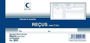 Lebon et Vernay - Carnet à souche ''reçu avec TVA'' - Format 10,5 x 21cm - 50 feuillets