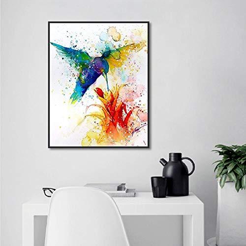 e Aquarell Kolibri Blume Leinwand Malerei Hd Gedruckt Wandkunst Poster Für Hauptdekoration Wohnzimmer 50Cmx70Cm ()