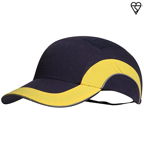 JSP ABR000-00N-400 Hardcap A1+ Long Peak Bump Cap, 7 cm, Navy/Yellow Test