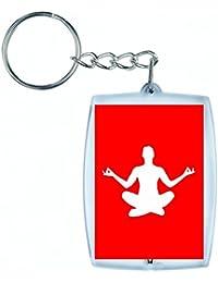 """'Porte-clés """"exercice de fitness de Femelle de Fille de Santé de humaine de Personnes de personne de pose de silhouette de dilatation de Madame Sac de yoga en noir/blanc/bleu/rose/jaune/rouge/vert   Caddie–Remorque–Sac à dos–Porte-clés, Rot"""