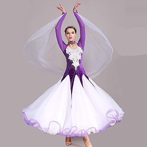 QMKJ Frauen Latin Dance Kostüme Bauchtanz Rock lila handgefertigte Pailletten Ballroom Dancing Kostüme Full Rock Hemden Moderne Mode 2018 XL 2XL,XL