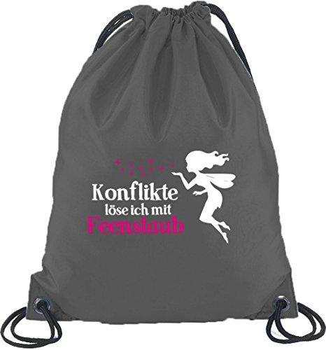Shirtstreet24, Feenstaub, Fee Fairy Turnbeutel Rucksack Sport Beutel, Größe: onesize,Dunkelgrau