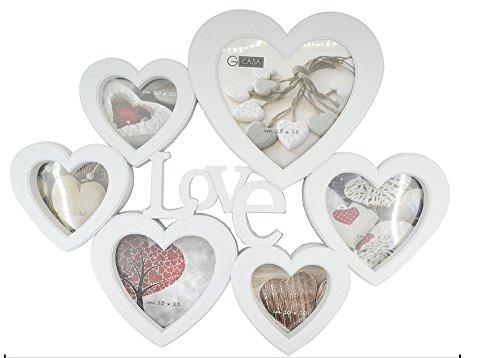Vetrineinrete® cornice portafoto per 6 fotografie con cuori e scritta love bianco shabby chic foto ricordo matrimonio innamorati idea regalo 46 x 37 cm 80818 g70