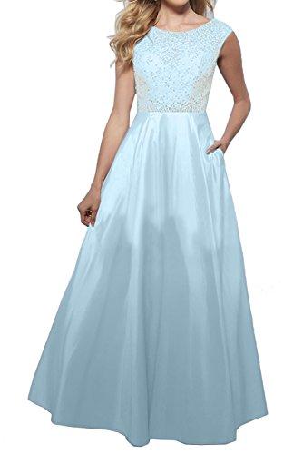 Ivydressing Damen Rund Neu Abendkleider Lang Ballkleider Arm Steine Blau