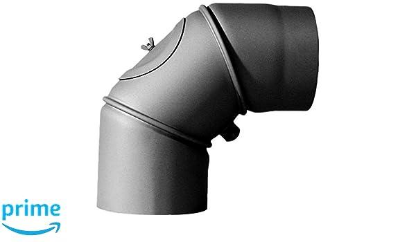 MCT FERRO3431130 Tuyau de po/êle coude /ø 130 mm r/églable 0-90/°avec porte Gris