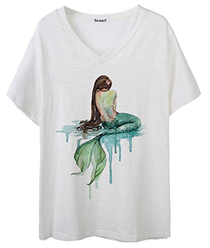 So'each Women's Mermaid Art Pattern Graphic V-Neck Tee T-Shirt Ladies Casual Top (Hot T-shirt Sleeve Cap Womens)