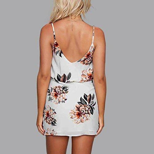 AmazingDays Chemisiers T-Shirts Tops Sweats Blouses,Femme Vacances Floral Robes Dames Robe de Plage D'Été sans Manches Mini white