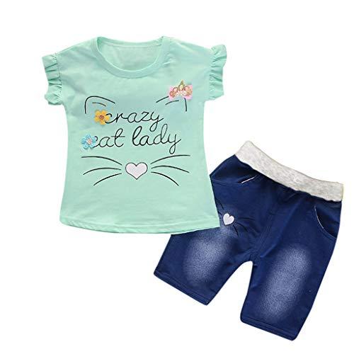 LEXUPE Kleinkind Baby Mädchen Kurzarm Cartoon Print Tops + Denim Shorts Set Outfits(Grün,XL/100)