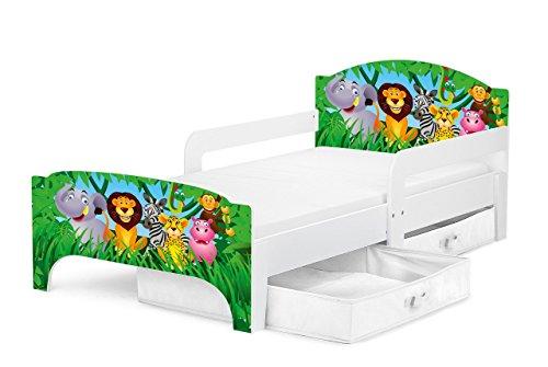 *Moderne Smart Lit d'Enfant Toddler 140×70 Motif Animaux Dans La Jungle Confortable Fonctionnel Lit Simple Avec Un Tiroir Lit Pour Enfant Avec Rangement et Matelas Grand Tiroir En Textile 2 Pièces Achat