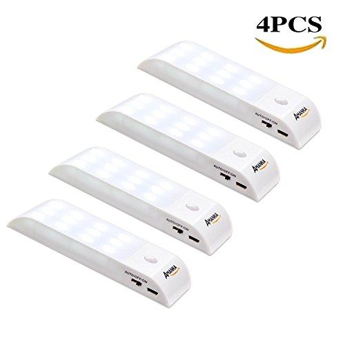 LED-Nachtlicht, AMANKA (4 Pack) LED Bewegungsmelder,USB Rechargeable für Schrank Kinderzimmer Flur Schlafzimmer Küche Garderobe Garage (4 Doppelseitige Bücherregal)